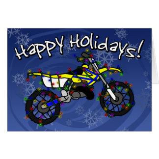 Cartão de Natal amarelo da bicicleta da sujeira