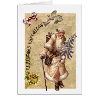 Cartão de Natal antiquado com torção do steampunk