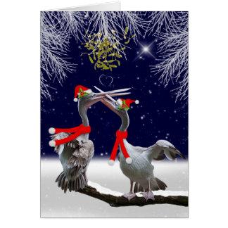 Cartão de Natal apaixonado dos pelicanos