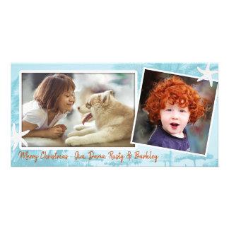 Cartão de Natal azul da foto do dobro da família