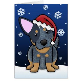 Cartão de Natal azul de Kawaii Heeler