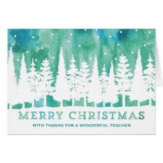 Cartão de Natal azul do professor das árvores da