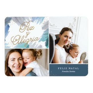 Cartão de Natal Azul Pintura Convite 12.7 X 17.78cm