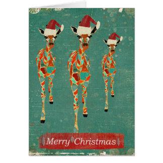 Cartão de Natal Azure & ambarino festivo dos
