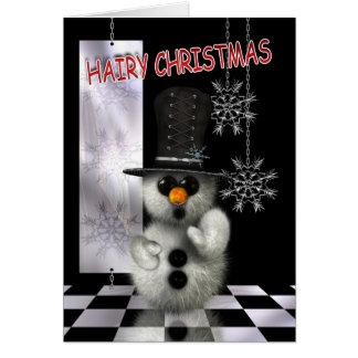 Cartão de Natal - boneco de neve peludo do Natal -