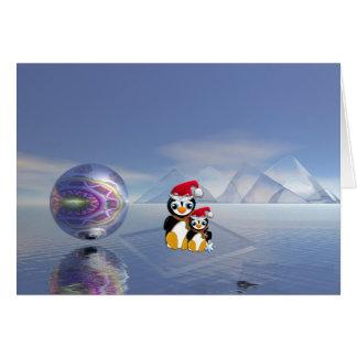 Cartão de Natal bonito com pinguins e texto