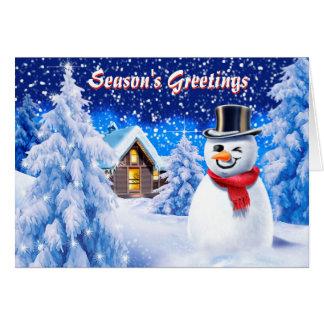 Cartão de Natal bonito da cena da neve do boneco
