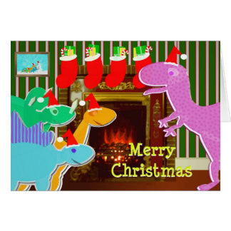 Cartão de Natal bonito da lareira dos dinossauros