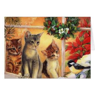 Cartão de Natal bonito do gatinho