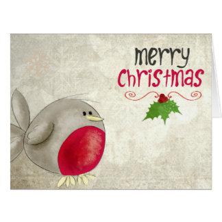 Cartão de Natal bonito do pisco de peito vermelho