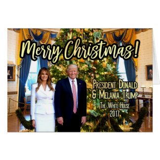 Cartão de Natal branco de Melania Donald Trump da