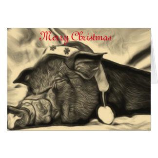 Cartão de Natal calmo do porco
