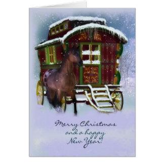 Cartão de Natal - cavalo e caravana velha