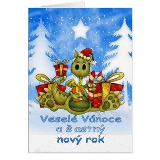 Cartão de Natal checo - dragão bonito - vánoce de