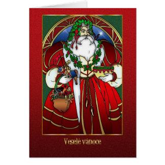Cartão de Natal checo - Papai Noel - vermelho e