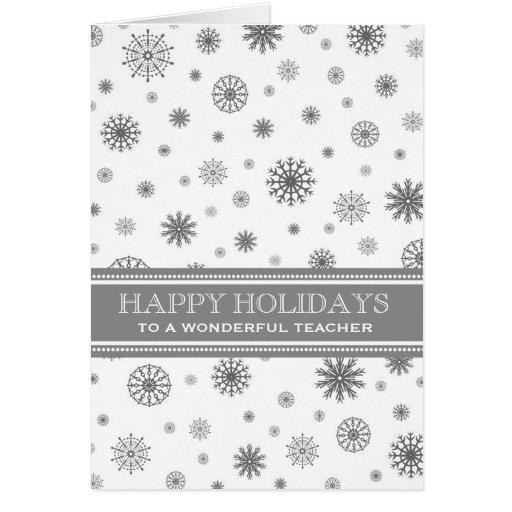 Cartão de Natal cinzento do professor da neve boas