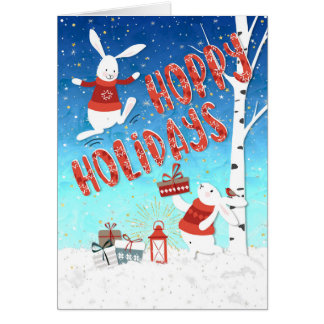Cartão de Natal - coelhos felizes dos feriados