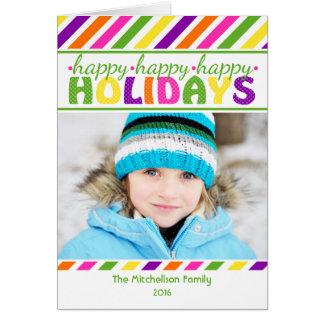 Cartão de Natal colorido das listras BRILHANTES