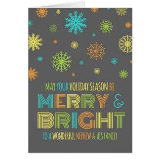 Cartão de Natal colorido do sobrinho e da família