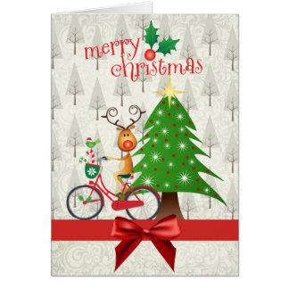 Cartão de Natal com a rena na bicicleta