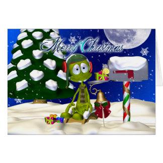 Cartão de Natal com alienígena em uma caixa postal