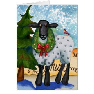 Cartão de Natal com cabra e grinalda