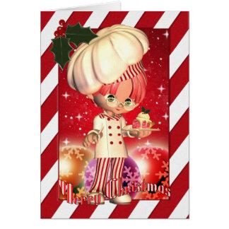 Cartão de Natal com cozinheiro chefe bonito e