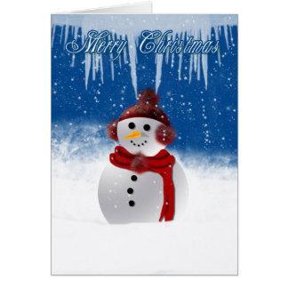 Cartão de Natal com o boneco de neve em