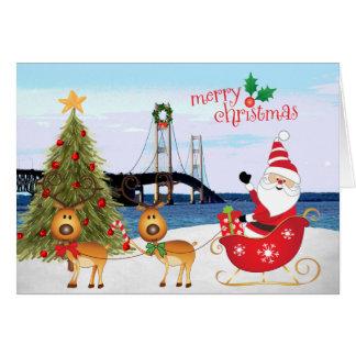 Cartão de Natal com papai noel, trenó da ponte de