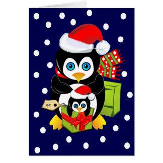 Cartão de Natal com pinguins e Polkadots