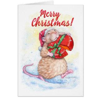 Cartão de Natal com rato bonito