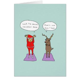 Cartão de Natal cómico da ioga engraçada da pose |