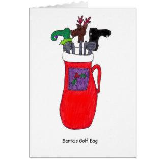 Cartão de Natal cómico do saco de golfe do papai n