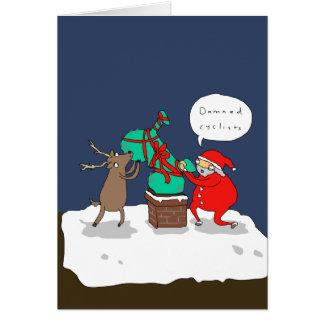 Cartão de Natal cómico engraçado dos ciclistas |