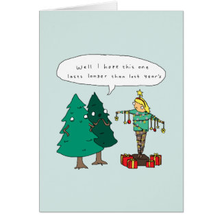 Cartão de Natal cómico engraçado humano da árvore