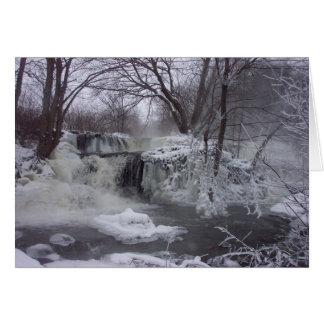 Cartão de Natal congelado da cachoeira - verso de