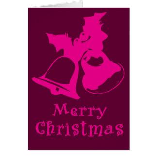Cartão de Natal cor-de-rosa de Bels