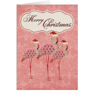 Cartão de Natal cor-de-rosa dos flamingos
