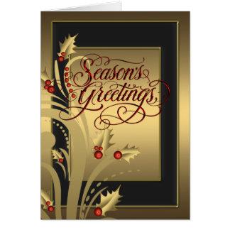 Cartão de Natal cristão do azevinho vermelho