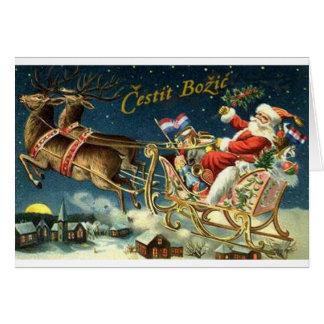 Cartão de Natal croata de Cestit Božić do vintage