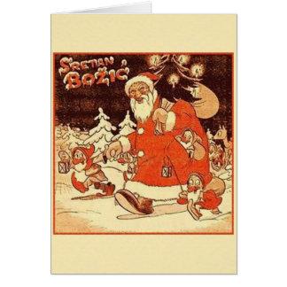 Cartão de Natal croata de Sretan Božić do vintage