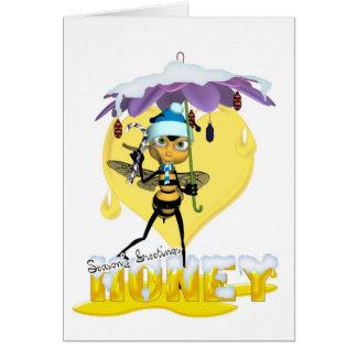 Cartão de Natal da abelha do mel - abelha bonito