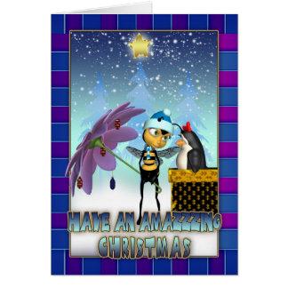 Cartão de Natal da abelha do mel - abelha e