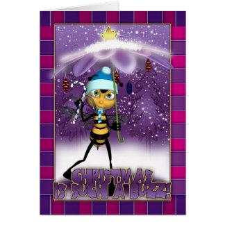 Cartão de Natal da abelha do mel - o Natal é tal
