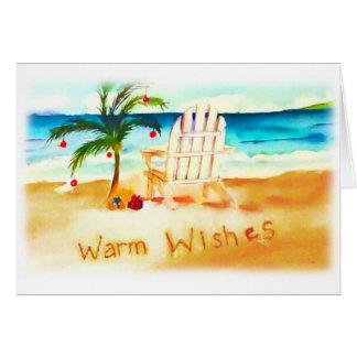 Cartão de Natal da aguarela da praia