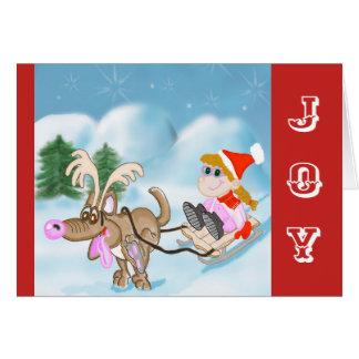 Cartão de Natal da alegria com menina e o cão