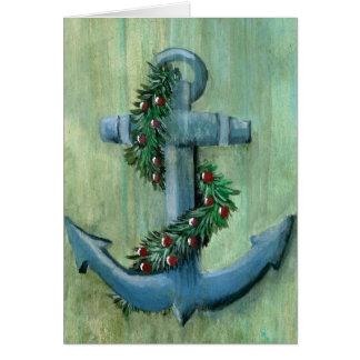 Cartão de Natal da âncora e da festão