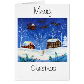 Cartão de Natal da arte popular com papai noel