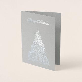 Cartão Metalizado Cartão de Natal da árvore de Natal da folha de
