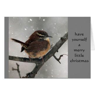 Cartão de Natal da carriça de Carolina